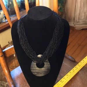 Jewelry - Large Black Beaded Statement Necklace